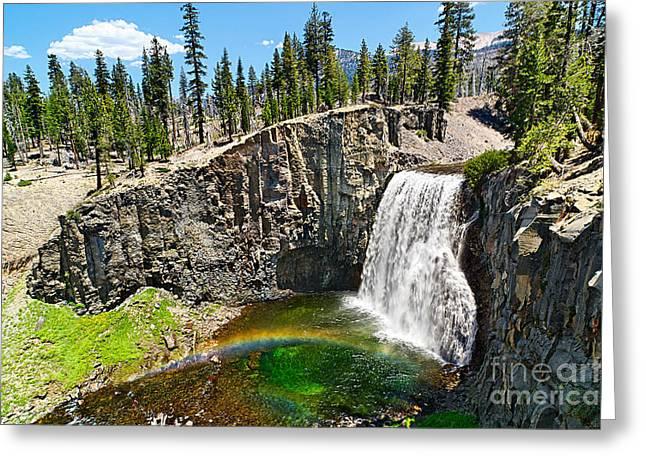 Natural Pool Greeting Cards - Rainbow Falls in Mammoth Lakes California Greeting Card by Jamie Pham