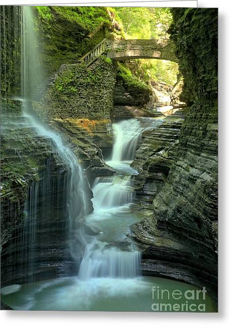 Watkins Glen New York Greeting Cards - Rainbow Falls Into The Canyon Greeting Card by Adam Jewell