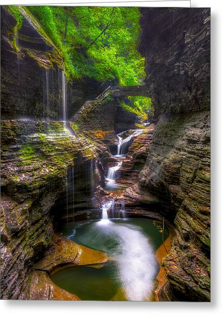 Rainbow Falls Of Watkins Glen Greeting Card by Mark Papke