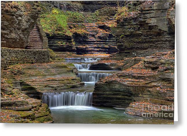 Schuyler County New York Greeting Cards - Rainbow Falls Greeting Card by Rick Kuperberg Sr