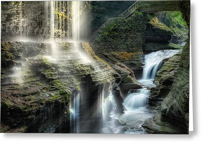Seneca Greeting Cards - Rainbow Falls Square Greeting Card by Bill  Wakeley