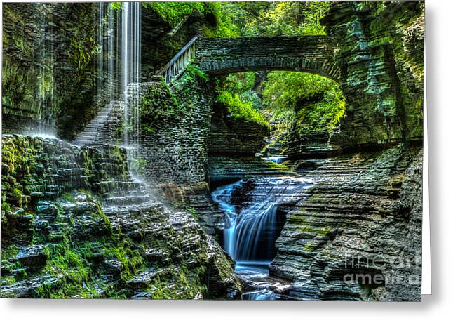 Recently Sold -  - Ithaca Greeting Cards - Rainbow Falls Watkins Glen Greeting Card by Brad Marzolf Photography