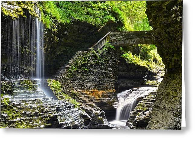 Hypnotizing Greeting Cards - Rainbow Falls Watkins Glen Greeting Card by Frozen in Time Fine Art Photography