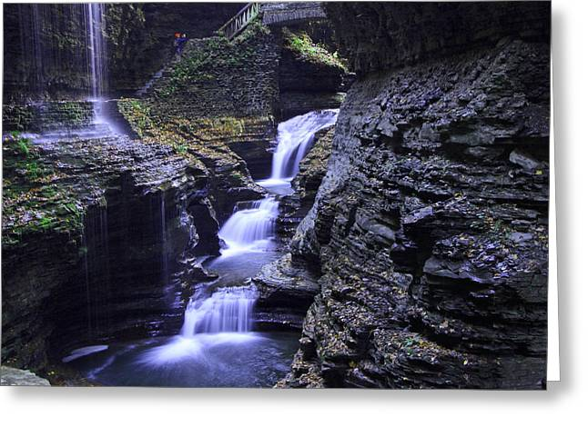 Cathedral Rock Greeting Cards - Rainbow Falls Watkins Glen State Park Greeting Card by Allen Beatty