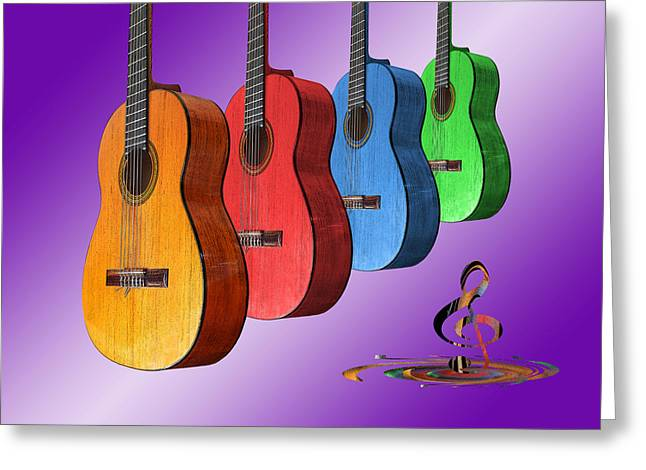 Country And Western Greeting Cards - Rainbow Fantasia on Guitars Greeting Card by Gill Billington