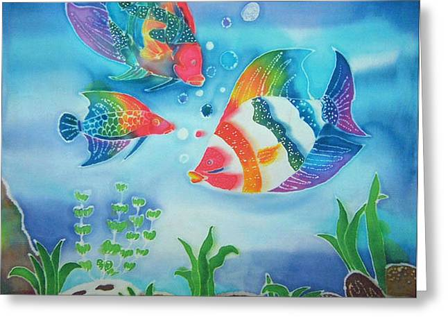 Uplifting Tapestries - Textiles Greeting Cards - Rainbow Fish Greeting Card by Jamie Schab