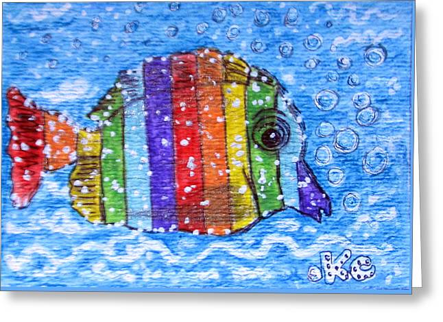 Rainbow Fish Greeting Card by Kathy Marrs Chandler