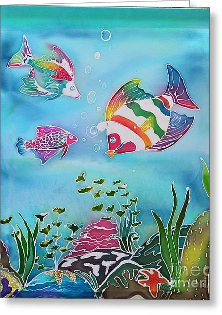 Uplifting Tapestries - Textiles Greeting Cards - Rainbow Fish Variation Greeting Card by Jamie Schab