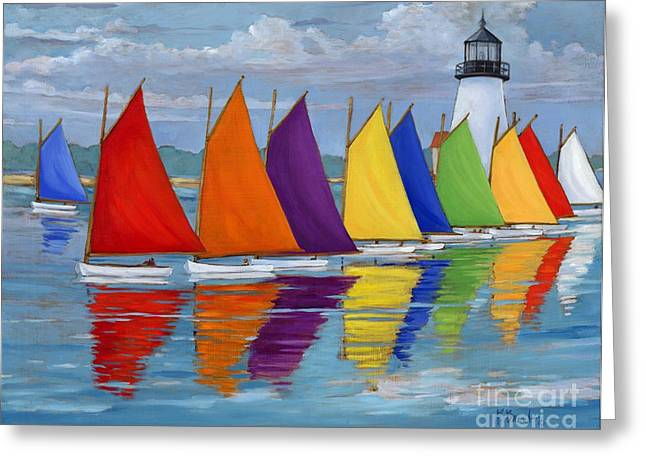 Yellow Sailboats Greeting Cards - Rainbow Fleet Greeting Card by Paul Brent