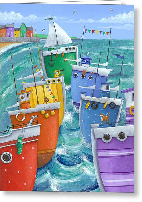Relaxed Greeting Cards - Rainbow Flotilla Greeting Card by Peter Adderley