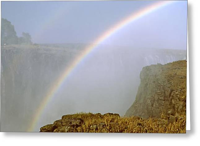 Zimbabwe Photographs Greeting Cards - Rainbow Form In The Spray Created Greeting Card by Panoramic Images