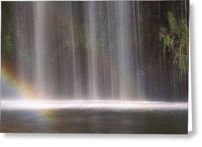 Siskiyou County Greeting Cards - Rainbow Formed In Front Of Waterfall Greeting Card by Panoramic Images