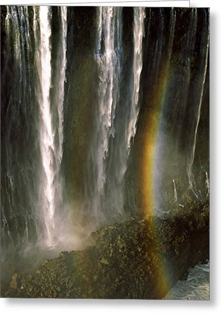 Zimbabwe Photographs Greeting Cards - Rainbow Forms In The Water Spray Greeting Card by Panoramic Images