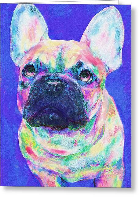 Rainbow French Bulldog Greeting Card by Jane Schnetlage