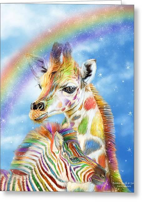 Children S Room Mixed Media Greeting Cards - Rainbow Giraffe And Zebra Greeting Card by Carol Cavalaris