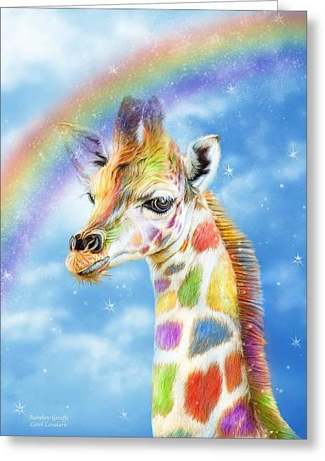 Children S Room Mixed Media Greeting Cards - Rainbow Giraffe Greeting Card by Carol Cavalaris
