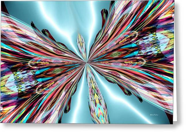 Maria Urso Digital Art Greeting Cards - Rainbow Glass Butterfly on Blue Satin Greeting Card by Maria Urso