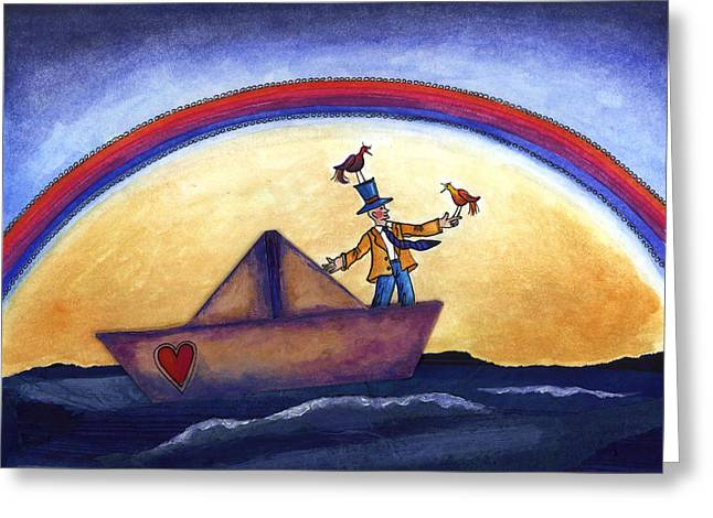 Sea Birds Drawings Greeting Cards - Rainbow Greeting Card by Graciela Bello
