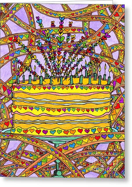 Culinary Drawings Greeting Cards - Rainbow Heart Cake Greeting Card by Mag Pringle Gire