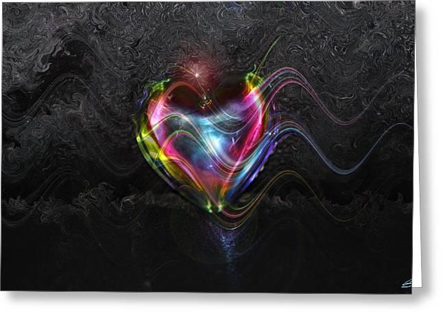 Rainbow Heart Greeting Card by Linda Sannuti