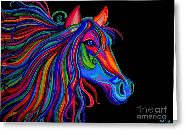 Horse Drawings Greeting Cards - Rainbow Horse Head Greeting Card by Nick Gustafson