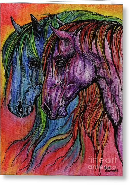 Crazy Horse Greeting Cards - Rainbow Horses Greeting Card by Angel  Tarantella