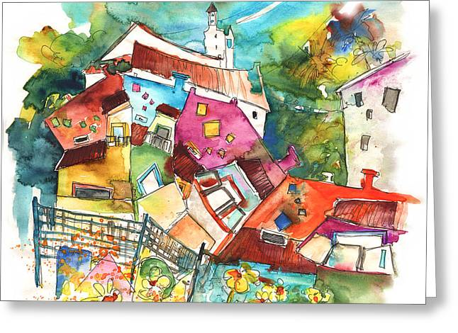 Portugal Art Greeting Cards - Rainbow Houses in Vila do Bospo in Portugal Greeting Card by Miki De Goodaboom