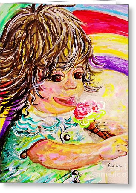 Boy Greeting Cards - Rainbow Ice Cream Greeting Card by Eloise Schneider