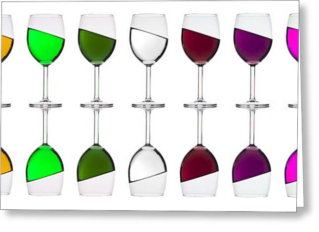 Wine-glass Greeting Cards - Rainbow in a glass Greeting Card by Andrew Munro