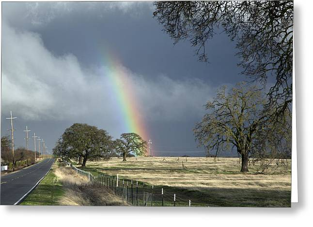 Rainbow In Stockton Greeting Card by Carol M Highsmith