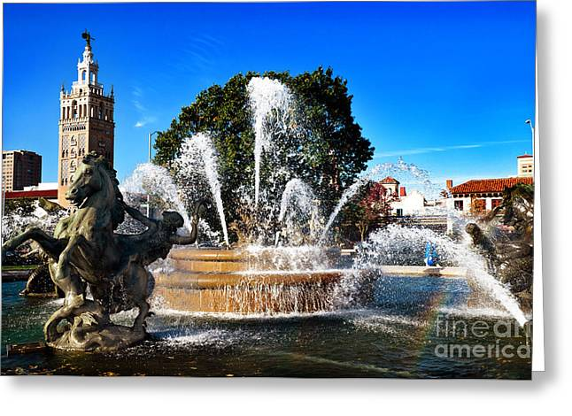 Andee Photography Greeting Cards - Rainbow in the JC Nichols Memorial Fountain Greeting Card by Andee Design