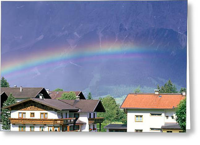 Rainbow Innsbruck Tirol Austria Greeting Card by Panoramic Images
