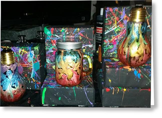 Unique Art Glass Art Greeting Cards - Rainbow Jars Greeting Card by Rachel Kerr