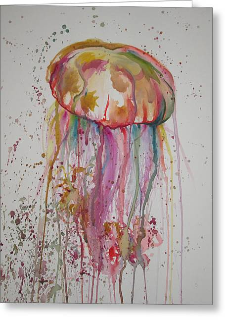 Jelly Fish Greeting Cards - Rainbow Jellyfish Greeting Card by Lauren Hoover
