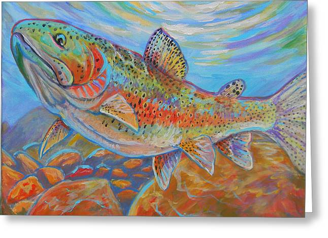 Rainbow Trout Greeting Cards - Rainbow  Greeting Card by Jenn Cunningham