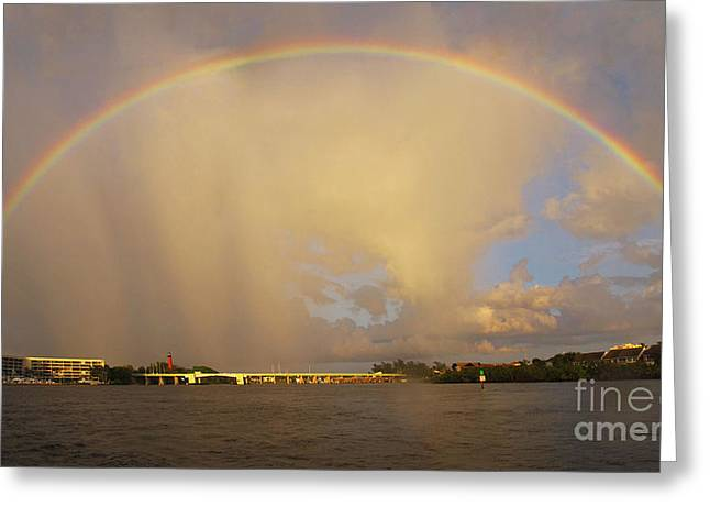 Rainbow Jupiter Inlet Greeting Card by Bruce Bain
