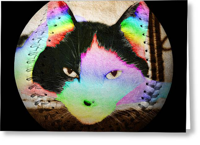 Hardball Nationals Greeting Cards - Rainbow Kitty Baseball Square Greeting Card by Andee Design