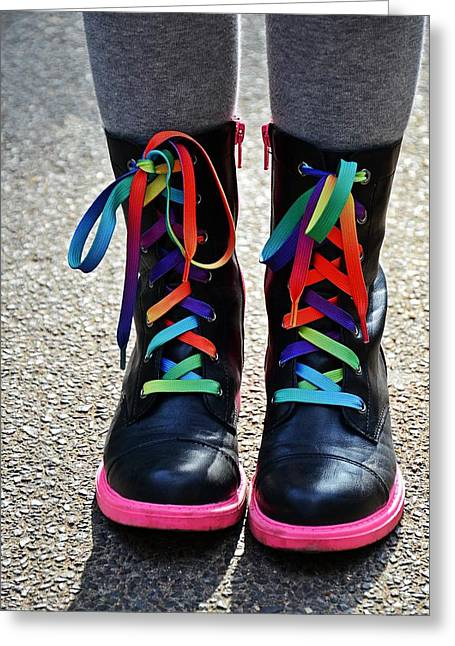 Black Boots Greeting Cards - Rainbow Laces Greeting Card by Marianna Mills