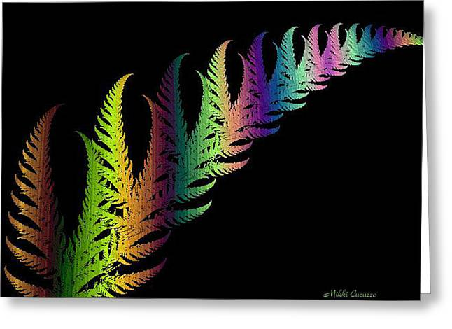 Rainbow Leaves Fractals Greeting Card by Mikki Cucuzzo