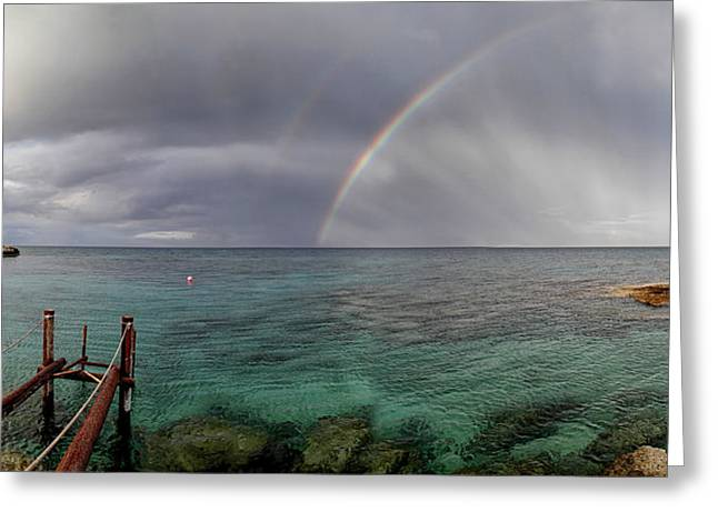 Grey Clouds Greeting Cards - Rainbow Light Greeting Card by Stylianos Kleanthous