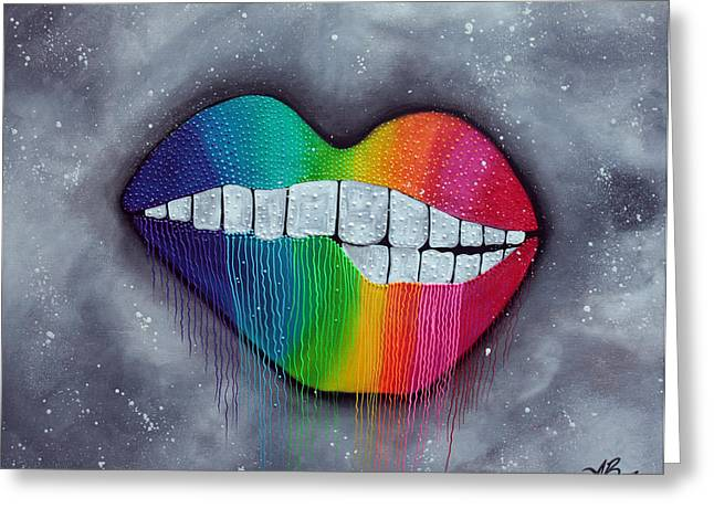 Pucker Greeting Cards - Rainbow Lips Greeting Card by Laura Barbosa