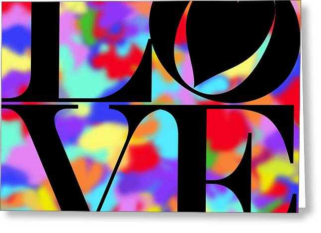 Valentimes Greeting Cards - Rainbow Love in Black Greeting Card by Mariola Bitner
