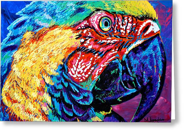 Avian Greeting Cards - Rainbow Macaw Greeting Card by Maria Arango