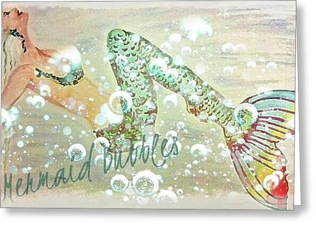 Book Cover Art Drawings Greeting Cards - Rainbow Mermaid Bubbles  Greeting Card by ARTography by Pamela  Smale Williams