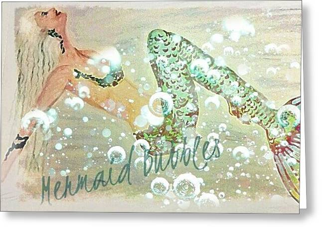 Featured Drawings Greeting Cards - Rainbow Mermaid Bubbles  Greeting Card by ARTography by Pamela  Smale Williams