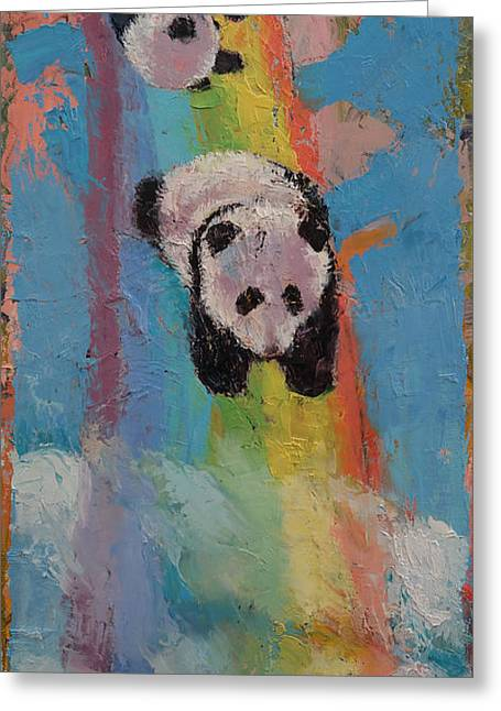 Giant Panda Greeting Cards - Rainbow Greeting Card by Michael Creese