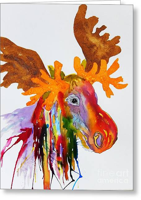 Splashy Paintings Greeting Cards - Rainbow Moose Head  - Abstract Greeting Card by Ellen Levinson