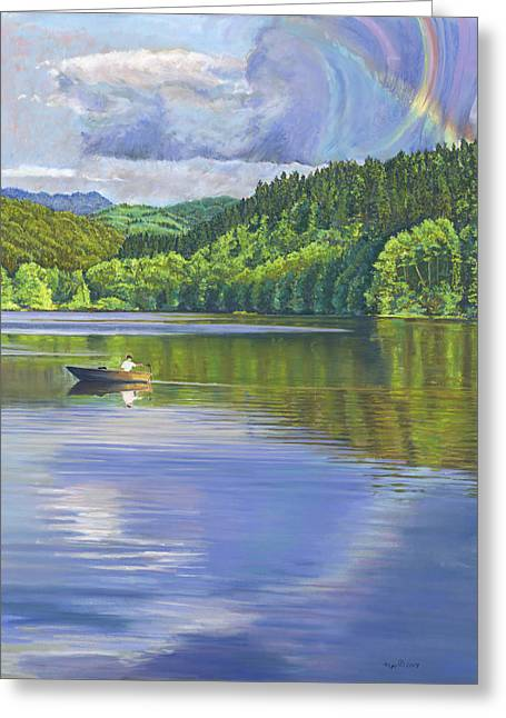Birdseye Greeting Cards - Lake Padden - View from the Alex Johnston Memorial Bench Greeting Card by Nick Payne