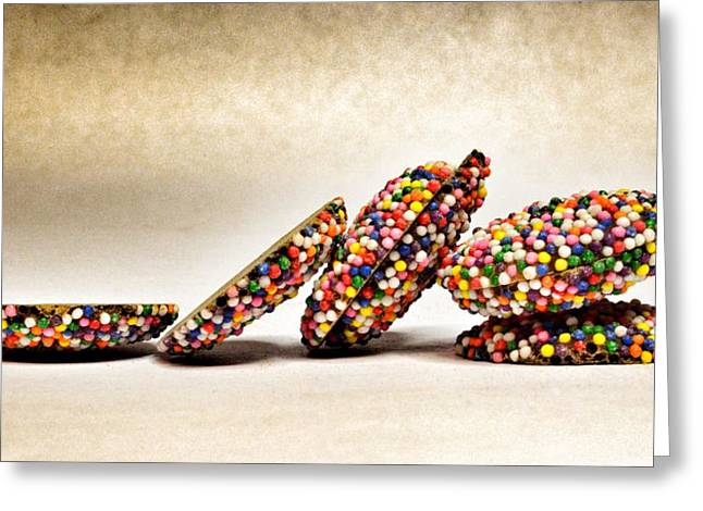 Pink Food Photography Greeting Cards - Rainbow Non Pareils Chocolate Greeting Card by Marianna Mills