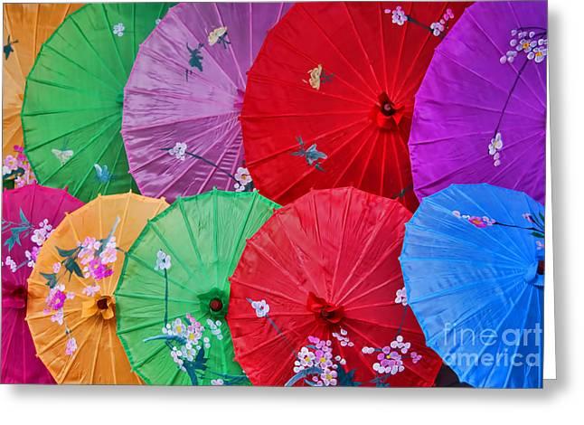 Alexandrajordankova Greeting Cards - Rainbow Of Parasols   Greeting Card by Alexandra Jordankova
